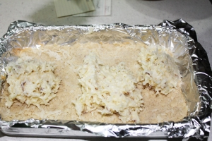 When crust is cool, spoon on filling. It will be sticky, so work fast while it is cold. Spread out evenly over crust.