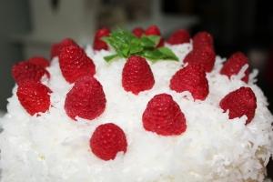 Add raspberries on top.