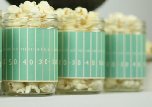 I love this idea for serving popcorn from Divine Party Concepts. You can also use canning jars for serving drinks, snack mix or candy.