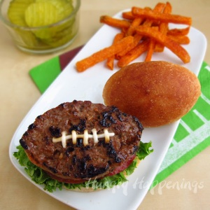 Fun Football Burger from Hungry Happenings. If you don't want to freeze your buns off cooking burgers now, I found some great sliders in the freezer section at the grocery store.