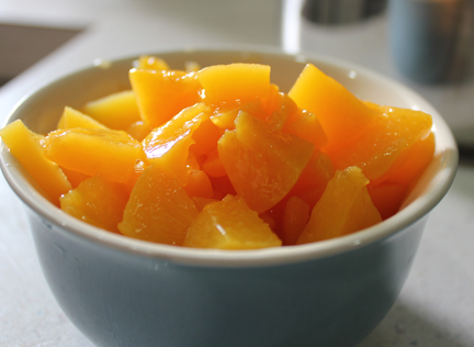 Slice peaches into bite-sized pieces. You should have about a cup or so.