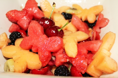 butterfly fruit salad finished