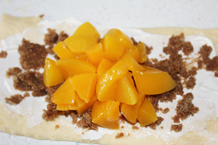 Add a pile of peaches to the center of the rectangle.