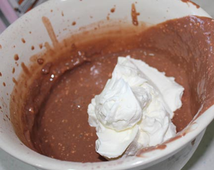 Fold half the whipping cream into the remainder of the pudding mixture.