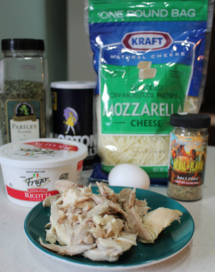 Ingredients for cheesy chicken filling. You can use any sort of meat and cheese combo you like.