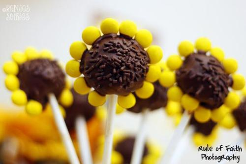 sunflower party cake pop