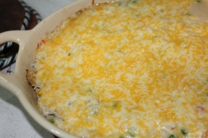 Bake about 20 minutes, until everything is bubbling and looks cooked. Remove from oven, sprinkle with cheese and return to oven for a few minutes until cheese melts. Serve and enjoy!
