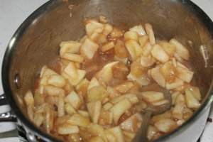 It took about ten minutes for the apples to soften and the mixture to get that caramel look.