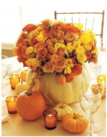 Gorgeous white pumpkin flower arrangement. I'd like one of these for my dining room table, please!