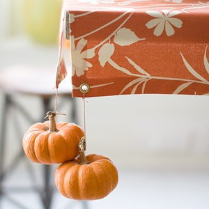 This is such a clever and cute idea using mini pumpkins as table cloth weights.