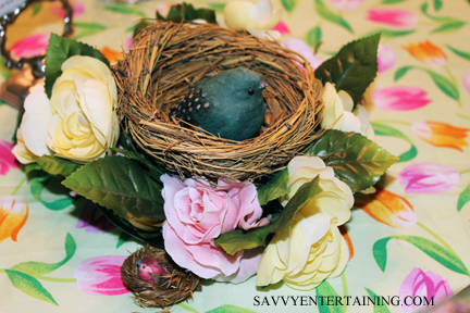 The centerpiece was a nest with a bird and eggs (and a miniature nest with a teensy little bird).