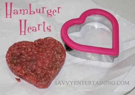 bread dough hamber patty with heart cutter