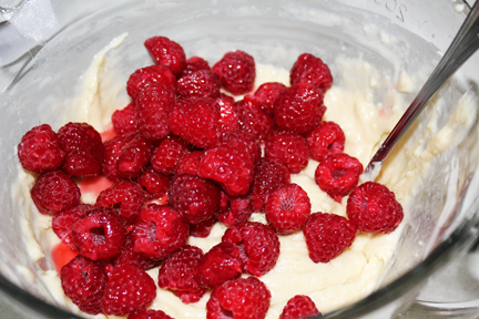 Gently stir in raspberries.