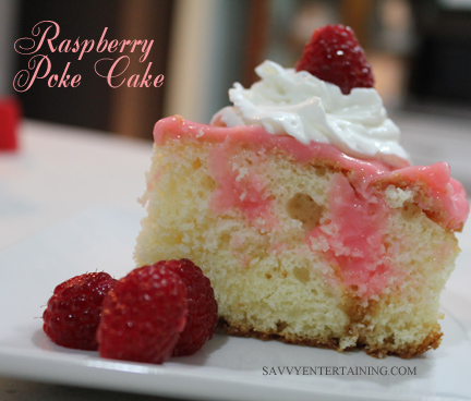 berry poke cake plated