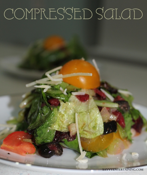 Compressed salad plated