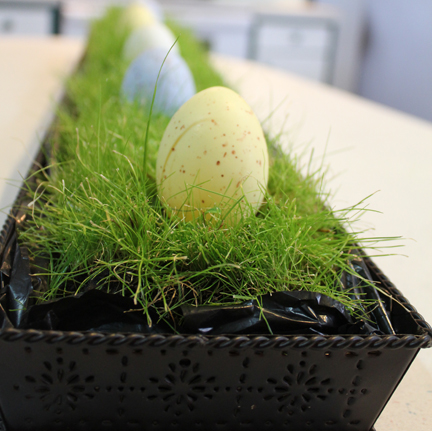 I love the contrast of the grass, the metal tray, and the soft colors of the eggs.