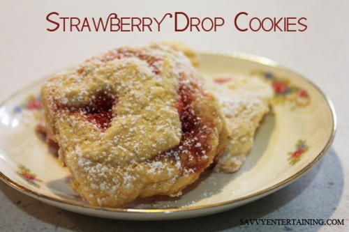 strawberry drop cookies plated