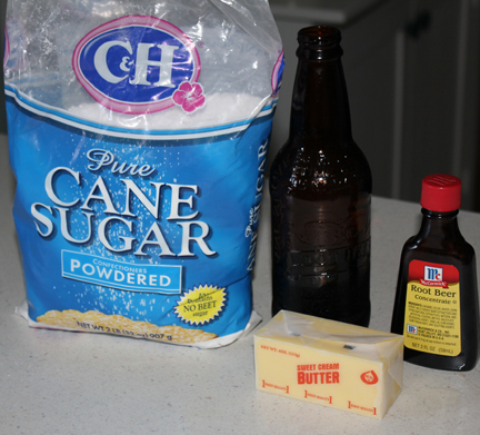 Here are the ingredients for the root beer frosting.