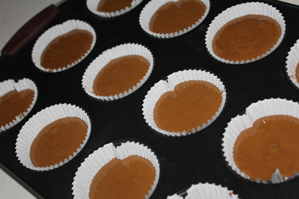 Pour into paper-lined muffin cups and bake at 350 degrees until the tops bounce back when touched (about 15 minutes or so).