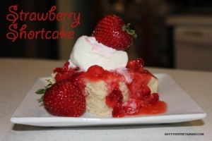 When ready to serve, place a piece of cake on a plate, drizzle with berries and top with ice cream. Yum!