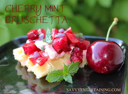 cherry bruschetta plated