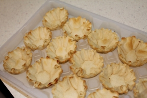 Fill mini tart shells. These came in a package of 12 - so you'd need four boxes. You can also use a graham cracker pie crust. Either way is tasty!