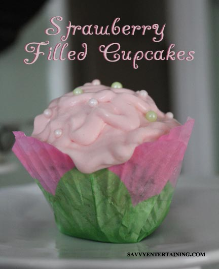 strawberry cupcakes plated