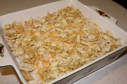 Finish it off with your cracker crumbs and bake in a 350 oven for an hour.
