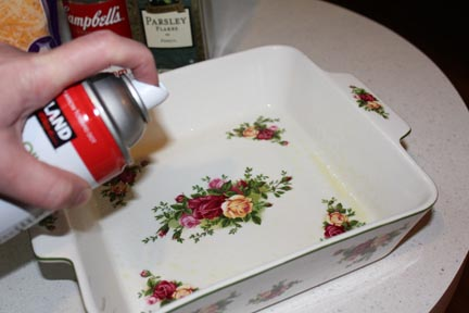 Start by giving your baking dish a good coating of non-stick spray.