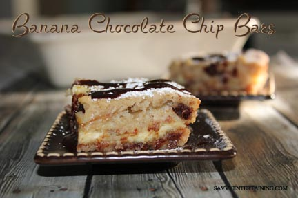 Banana Chocolate Chip Bars plated